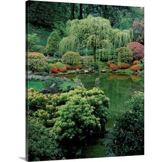 """Weeping willow tree and pond in a Japanese Garden, Washington Park, Portland, Oregon"" Canvas Wall Art"