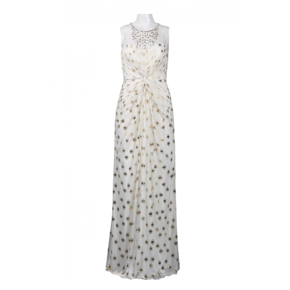 Adrianna Papell Beaded Knot Front Foil Dot Chiffon Dress