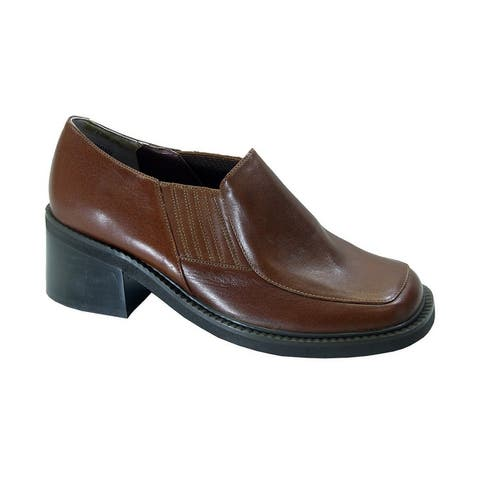 PEERAGE Chanel Womens Extra Wide Width Slip-On Casual Leather Shoes