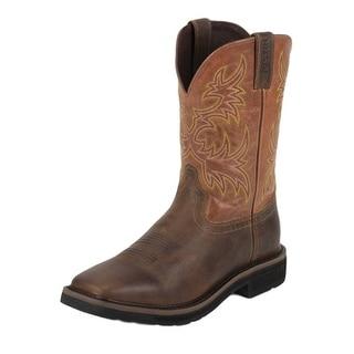 Justin Work Boots Mens Stampede Square Toe Western Tan Orange WK4810