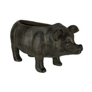 Distressed Brown Resin Indoor Outdoor Rustic Farmhouse Pig Planter - 8 X 15 X 6.75 inches