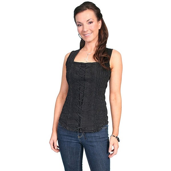 c979ee17db0 Shop Scully Western Shirt Womens Cantina Tank Top Lace Up - Free Shipping  On Orders Over  45 - Overstock - 15446551