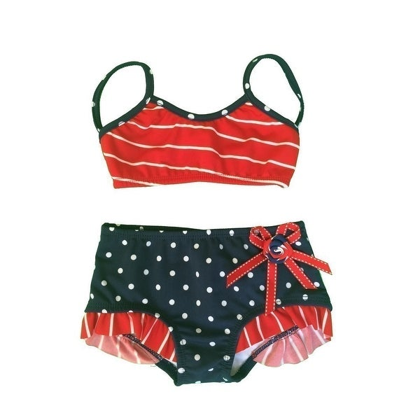 7a601d0233ff7 Shop Little Girls Red Nautical Stripe Dot Rosette Ruffle Accent 2 Pc  Swimsuit - Free Shipping On Orders Over $45 - Overstock - 19294392
