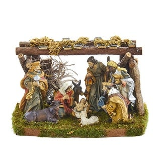 """10-Piece Set Soothing Colored Decorative Nativity Theme with Stable 7"""" - brown"""