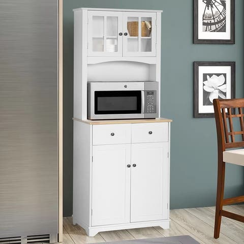 Veikous Kitchen Pantry Cabinet Buffet Hutch with Drawers and Microwave Space