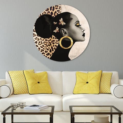 """""""Beautiful Woman"""" Frameless Free Floating Tempered Glass Round Graphic Wall Art 40 in. x 40 in."""