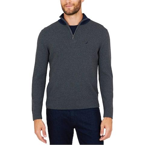 Nautica Mens Milano Quarter-Zip Sweatshirt, Grey, Medium