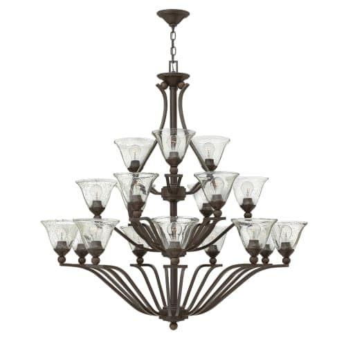 Hinkley Lighting 4659-CL 18 Light 3 Tier Chandelier with Clear Seedy Glass Shades from the Bolla Collection