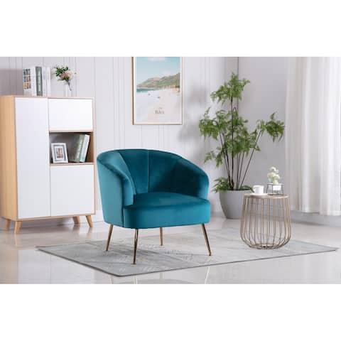 Porthos Home Skye Accent Chair, Tufted Velvet Upholstery, Chrome Legs