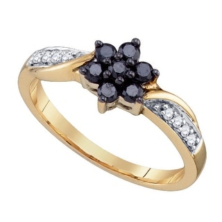 10kt Yellow Gold Womens Round Black Colored Diamond Cluster Fashion Ring 1/3 Cttw - White
