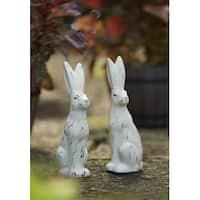 "Set of 6 Country Rustic Springtime Bunny Rabbit Garden Statues 9"""