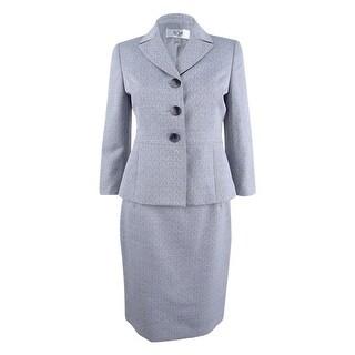 Le Suit Women's Petite Three-Button Cross-Dyed Skirt Suit - grey - 2p