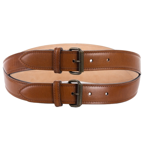Roberto Cavalli Brown Spiral Stitched Double Leather Belt