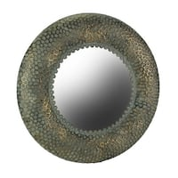 Antique Bronze Finished Honeycomb Pattern Embossed Metal Wall Mirror