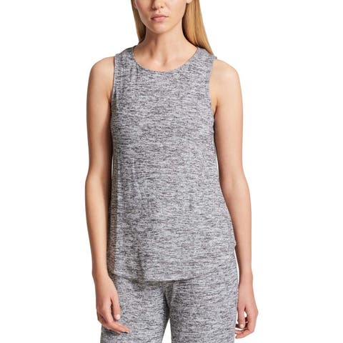 DKNY Sport Womens Marled Crew Neck Tank Top Gray (S)