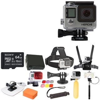 GoPro HERO4 Black with 64GB Micro SDXC and Deluxe Accessory Bundle