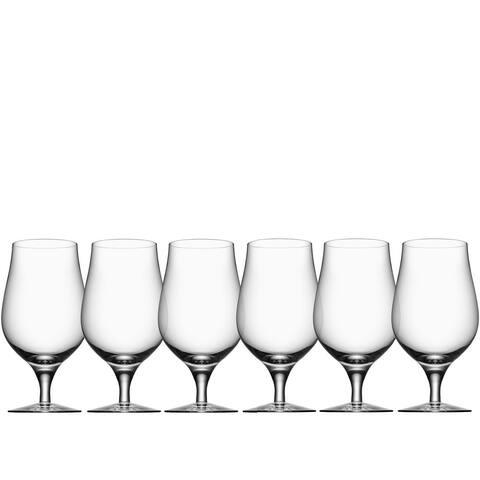 Orrefors Glass Beer Taster 16 Ounce Drinking Glass Set of 6