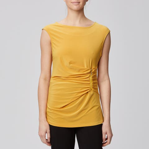 Harve Benard Short Sleeve Blouse Pleated Side with Gold Zipper