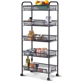 Costway 5 Tier Storage Rack Trolley Cart Home Kitchen Organizer Utility Baskets Black