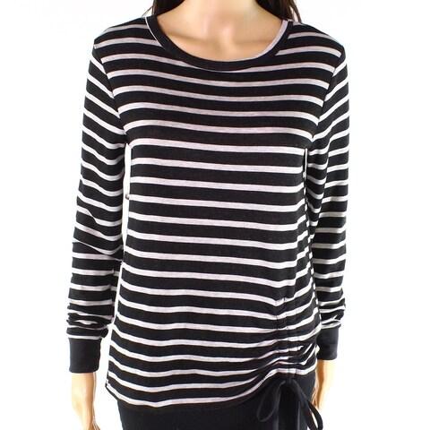 Moa Moa Heather Gray Womens Small Striped Knit Top
