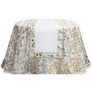 Pack of 4 Decorative Cream White and Gold Metallic Edge Rectangular Table Runners 72""