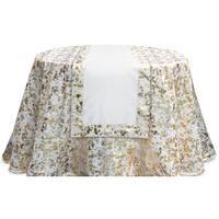 "Pack of 4 Decorative Cream White and Gold Metallic Edge Rectangular Table Runners 72"""