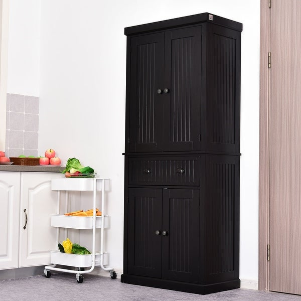 HOMCOM Traditional Freestanding Kitchen Pantry Cabinet Cupboard with Doors and 3 Adjustable Shelves, Black