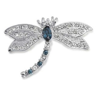 Bling Jewelry Blue Imitation Sapphire CZ Dragonfly Brooch Rhodium Plated