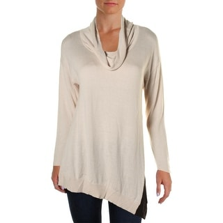 Avec Womens Pullover Sweater Knit Contrast Trim