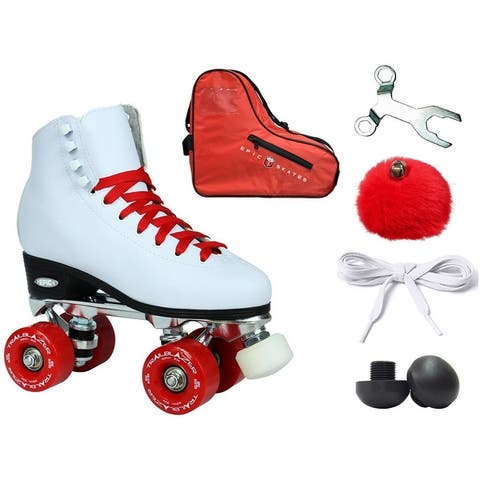 Epic Classic White / Red High-Top Quad Roller Skate 6pc. Bundle