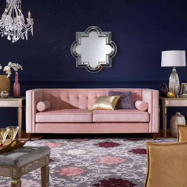 Beverly Pink Velvet Sofa or Loveseat with Pillows by iNSPIRE Q Bold. Opens flyout.