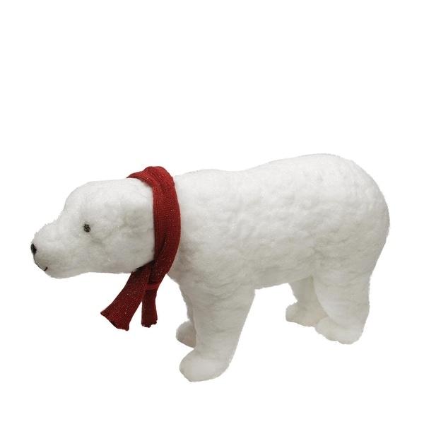 "25"" Walking Plush White Polar Bear Christmas Decoration"