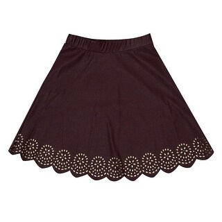 Stoosh Juniors Laser-Cut Fake-Leather Skirt (M, Burgundy) - burgundy