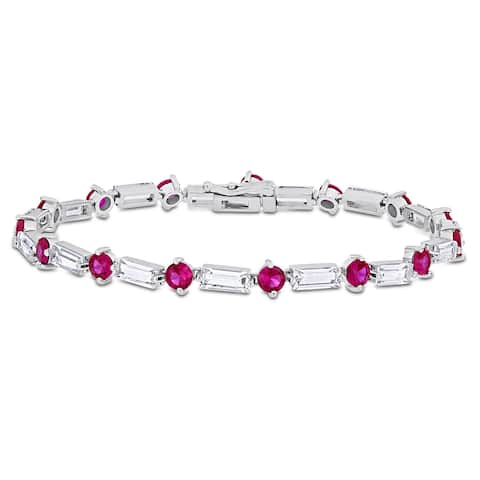 Miadora Baguette and Round-cut Created Ruby & White Sapphire Tennis Bracelet in Sterling Silver