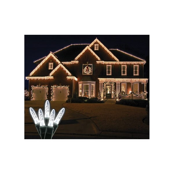 Christmas at Winterland S-ICM5PW-IG Standard Icicle Lights M5 LED Pure White Faceted 70 Lights Green Wire 22 Gauge