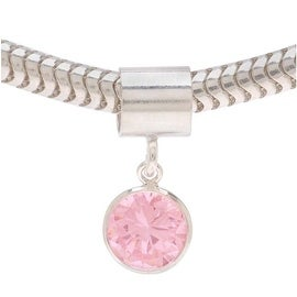 Sterling Silver Bead w/ October Birthstone 'Tourmaline' Pink Color Cubic Zirconia - European Style Large Hole