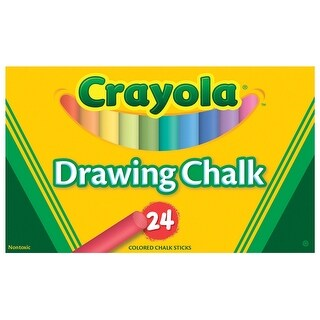 Crayola Non-Toxic Drawing Chalk, Assorted Colors, Pack of 24
