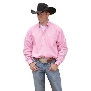 Cinch Western Shirt Mens L/S Button Down Solid Pink