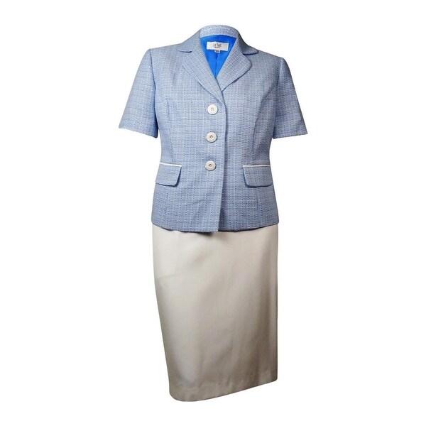 Le Suit Women's Yacht Club Woven Short Sleeve Skirt Suit - 18W
