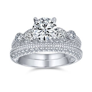 Link to 1.25CT Solitaire AAA CZ Engagement Wedding Band Ring Set Sterling Similar Items in Rings