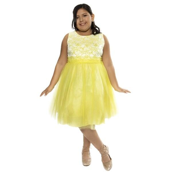 Kids Dream Girls Yellow Lace Plus Size Junior Bridesmaid Dress