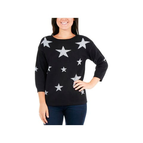 NY Collection Womens Petites Pullover Sweater Metallic Star