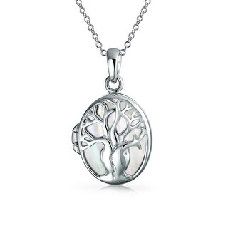 .925 Sterling Silver Mother of Pearl Tree of Life Pendant Locket Necklace