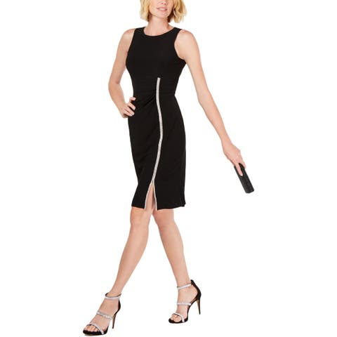 MSK Womens Sheath Dress Embellished Jewel Neck - Black