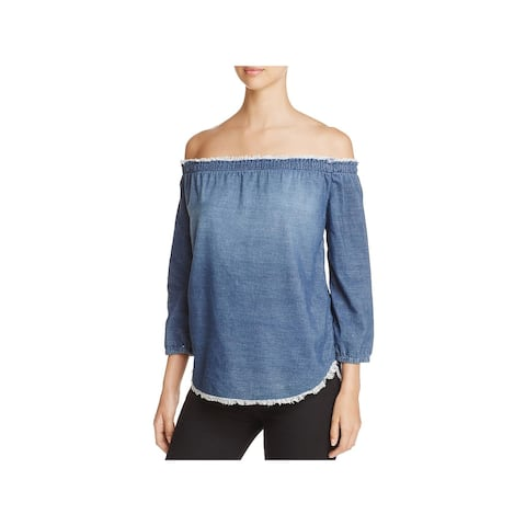 Side Stitch Womens Pullover Top Cold Shoulder Frayed