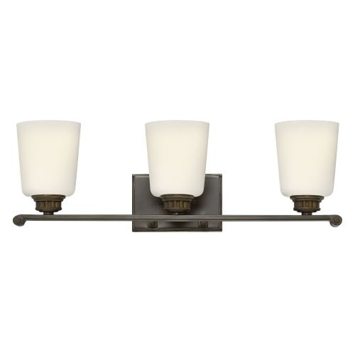 Hinkley Lighting 53323 3 Light Bathroom Vanity Light with Frosted Glass Shades from the Annette Collection