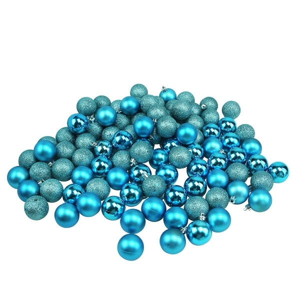 """96ct Turquoise Blue 4-Finish Shatterproof Christmas Ball Ornaments 1.5"""" (40mm)"""