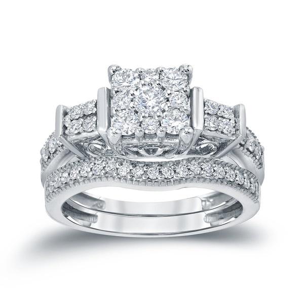 Auriya 14k Gold 3/4ctw Ornate 3-Stone Halo Diamond Engagement Ring Set. Opens flyout.