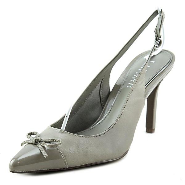 Lauren Ralph Lauren Sienna Women Pointed Toe Leather Gray Slingback Heel