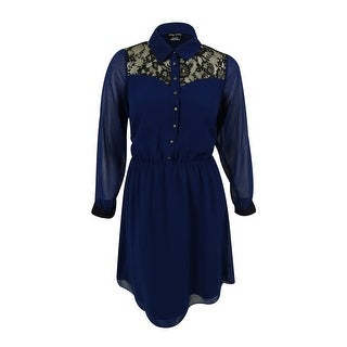 City Chic Women's Tie Front Dress - INDIGO